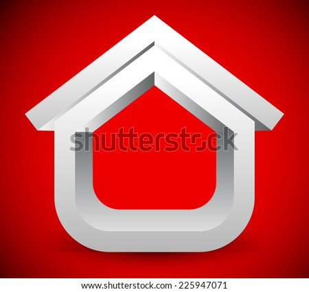 Stylish 3D house on bright red. Crucial, critical, awareness concepts. Loan, mortgage, reconstruction etc. concepts - stock vector