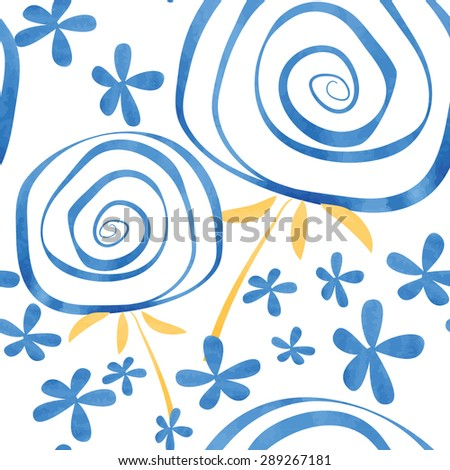 stylish dandelions  watercolor vector pattern - stock vector