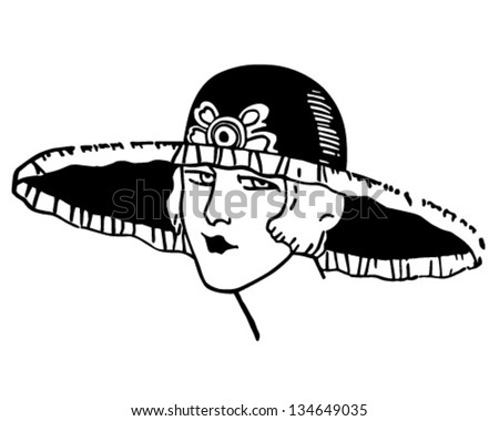 Stylish Deco Gal - Retro Clip Art Illustration - stock vector