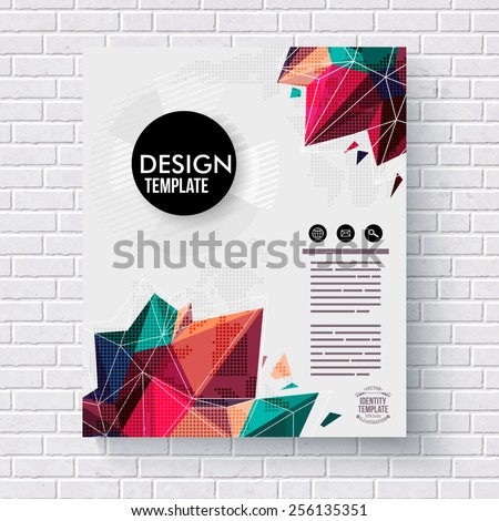 Stylish design template with colorful crystals or geometric points suitable for mining or gemstone concepts with editable text hanging on a white brick wall, vector illustration - stock vector