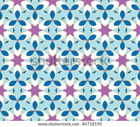 Stylish design with seamless blue and purple flowers - stock vector