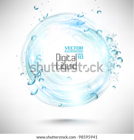 stylish digital flowing liquid design - stock vector