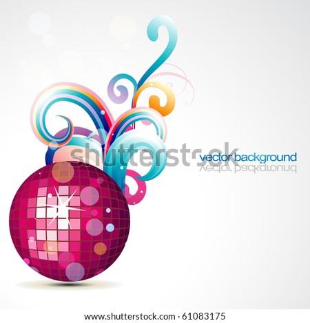 stylish disco ball vector design art - stock vector