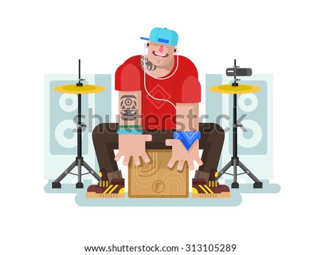 Stylish drummer play on cajon. Drum and music, listening beat, instrument and rhythm bass, flat vector illustration - stock vector