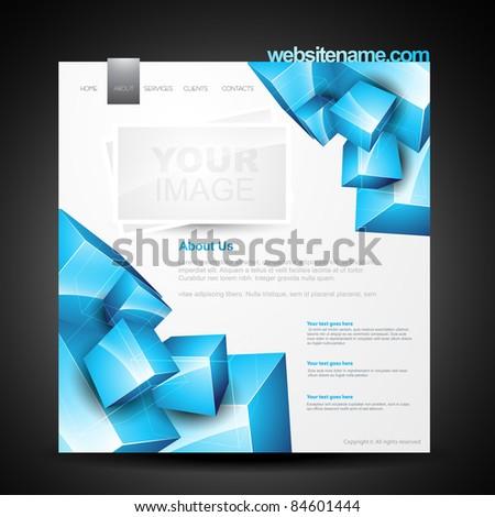 stylish editable vector webpage template - stock vector