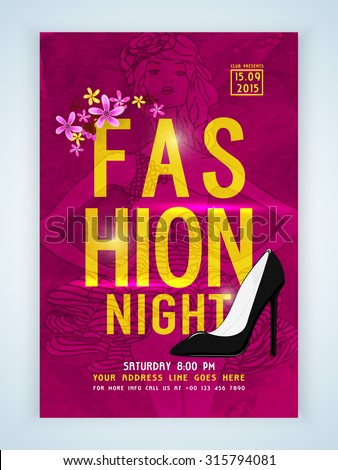 Stylish elegant template, banner or flyer with young fashionable girl and high-heels for Fashion Night. - stock vector