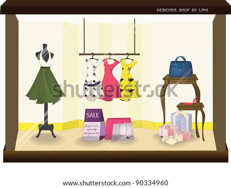 Stylish Fashion Display - sale products of beautiful fashionable collection in the show window for attractive woman : vector illustration