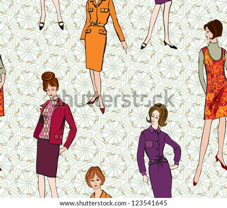 Stylish fashion dressed girls (1950's 1960's style) seamless pattern: Retro fashion party. vintage fashion silhouettes from 60s. - stock vector