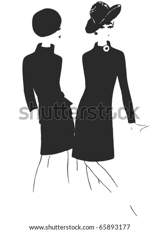 Stylish Fashion - 2 vintage fashion silhouettes from 60s - stock vector