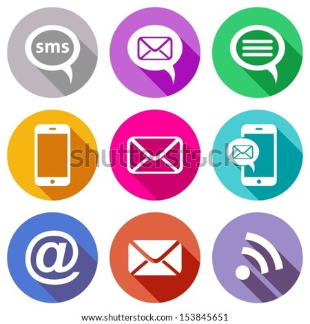 Stylish flat colourful mobile, sms and e-mail icons - stock vector