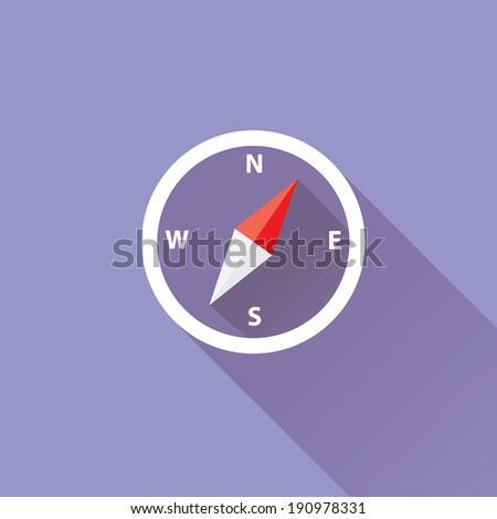 stylish flat design Compass vector Icon with long shadow on stylish violet background. navigation and traveling sign. travel icon - stock vector