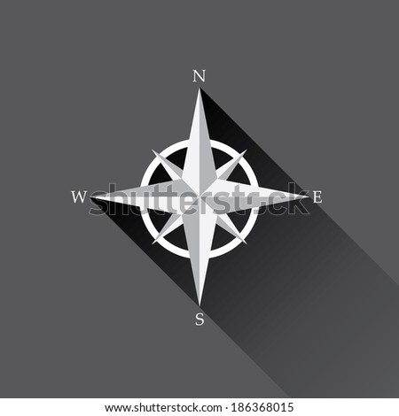 stylish flat design white Compass vector Icon with long shadow on black background. navigation and traveling sign. travel icon - stock vector