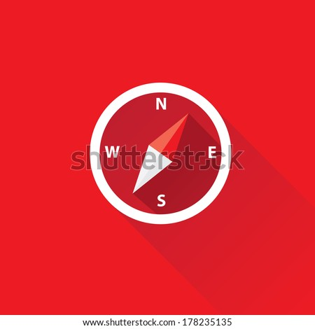 stylish flat design white Compass vector Icon with long shadow on red abstract background. navigation and traveling sign. travel icon - stock vector