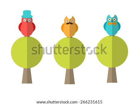 Stylish flat illustration of three different funny hipster owls sitting on trees - stock vector