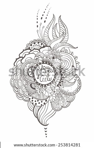 Stylish floral background, hand drawn flowers, vector illustration - stock vector