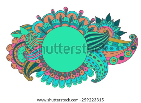 Stylish floral background, hand drawn flowers, vector illustration, Vector - stock vector