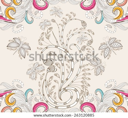 Stylish floral background, hand drawn retro flowers and butterflies - stock vector