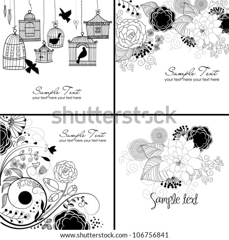 Stylish floral background in black and white colors - stock vector