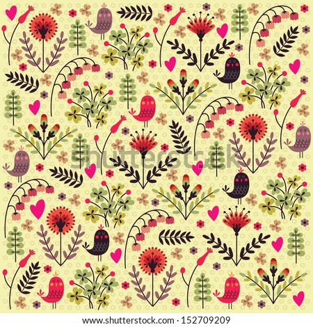 Stylish floral background. Vector Flowers and Birds. Summer background. Stylish floral card.  - stock vector