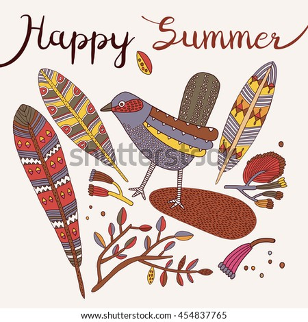 Stylish floral card made of cute flowers, feathers and bird in bright colors in vector. Awesome cartoon card for summer designs. Happy summer.