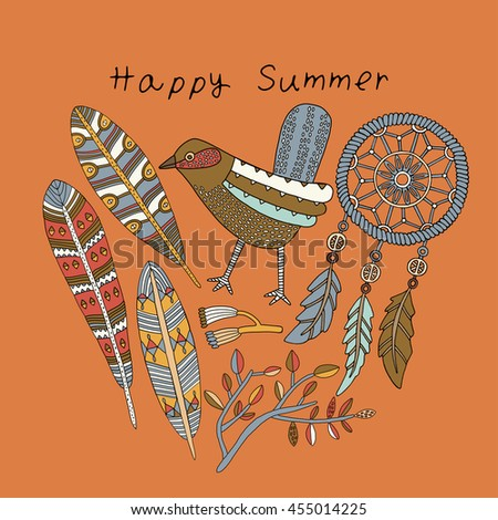 Stylish floral card with cute bird and feathers in bright colors in vector. Awesome cartoon card for summer designs