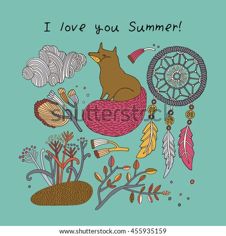 Stylish floral card with cute fox and flowers in bright colors in vector. Awesome cartoon card for summer designs