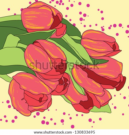 Stylish floral greeting card with blooming flowers tulips vector background