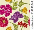 Stylish floral wallpaper, elegant design, seamless - stock vector