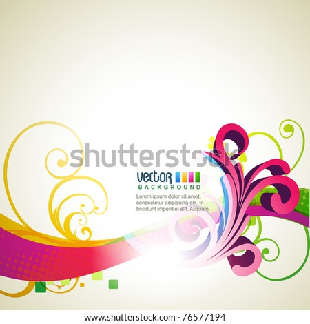 stylish floral wave colorful design illustration