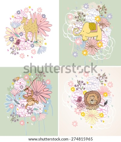 Stylish florals background with cartoon animals  in light colors. - stock vector