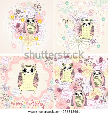 Stylish florals background with cartoon owl in light colors.