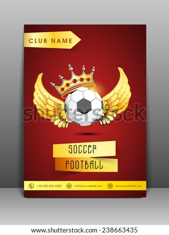 Stylish flyer and banner for sport club with address bar and mailer on red background. - stock vector