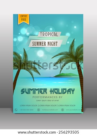 Stylish flyer, banner or template design for summer holiday. - stock vector