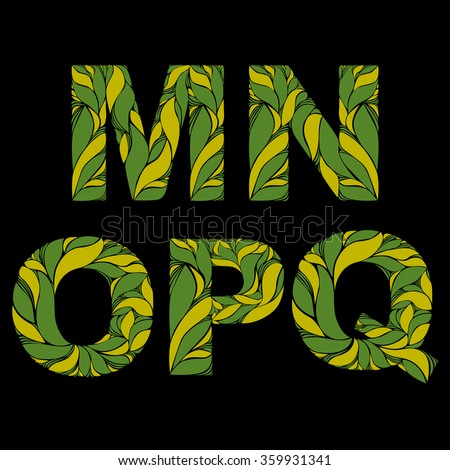 Stylish font with herbal ornament. Capital letters decorated with floral pattern. M, N, O, P, Q, drop caps. - stock vector