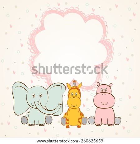 Stylish frame with cartoon animals in light colors. - stock vector