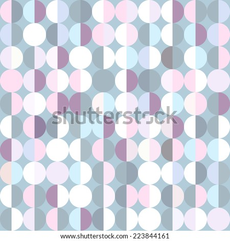 Stylish geometric abstract background with pastel blue, pink and purple circles - stock vector