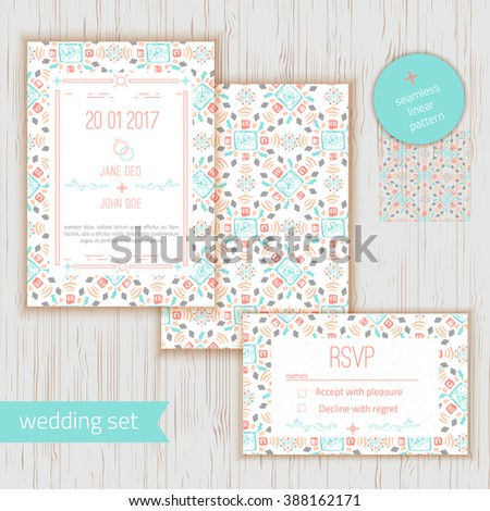 Stylish geometric save date wedding invitation stock vector stylish geometric save the date or wedding invitation card wirh rsvp vector geometric save the stopboris Choice Image