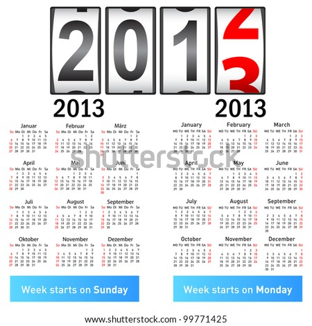 Stylish German calendar  for 2013. In German and English. - stock vector