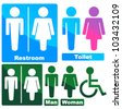 Stylish Glowing Toilette Symbols (green, blue, pink) - stock photo