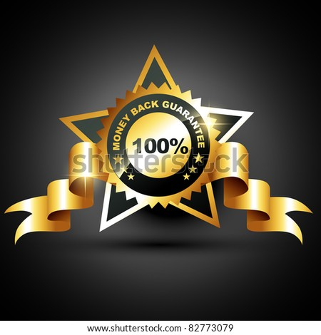 stylish golden money back guarantee label sign - stock vector