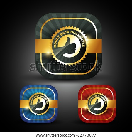 stylish golden money back guarantee label sign - stock vector