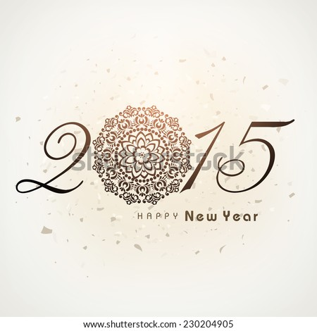 Stylish golden text 2015 with floral design decorated Christmas ball on brown background for Happy New Year celebrations. - stock vector