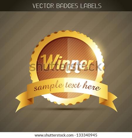 stylish golden winner label design - stock vector