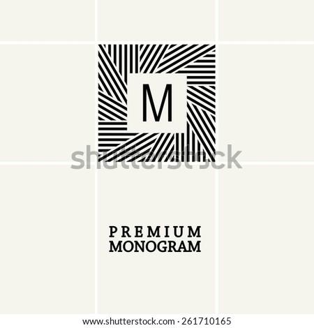 Stylish  graceful monogram , Elegant line art logo design in Art Nouveau style - stock vector