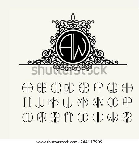 Stylish  graceful monogram , Elegant line art logo design in Victorian Style - stock vector