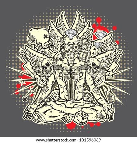 Stylish grunge illustration - stock vector