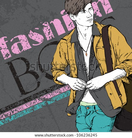 Stylish guy with bag  on a grunge background. Vector illustration. - stock vector