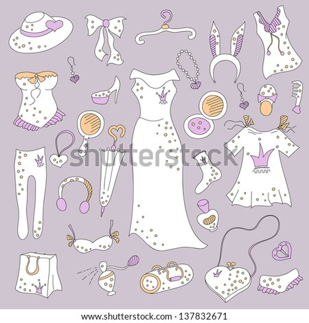 Stylish hand drawn composition of women related fashion items, shopping madness, vector set - stock vector