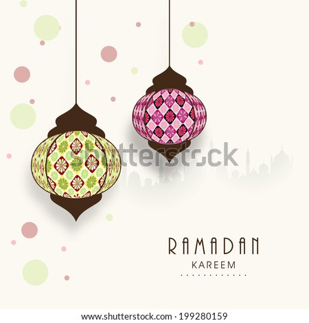 Stylish hanging arabic lanterns on mosque silhouetted colorful abstract background for holy month of Muslim community Ramadan Kareem.   - stock vector