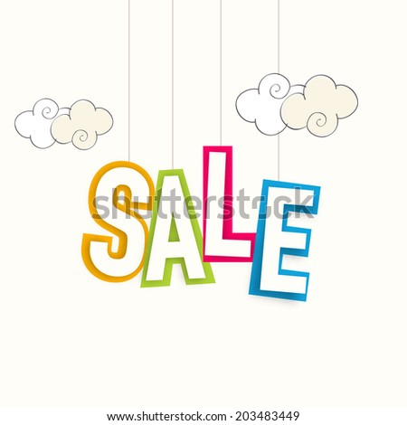 Stylish hanging colorful text Sale on clouds decorated beige background.  - stock vector